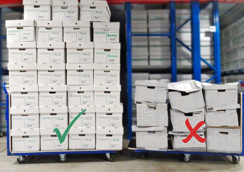 Des boîtes d'archivage de qualité proposées par Merak à côté de boîtes de basse qualité